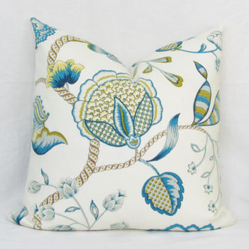 Blue & green floral decorative throw pillow cover. 18 x 18. 20 x 20. 22 x 22. 24 x 24. 26 x 26. lumbar sizes. Accent pillow.