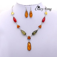 Free shipping Women's Vintage Retro 18k Silver Plated Amber African Wedding Jewelry Sets Chain Necklace Earrings sets