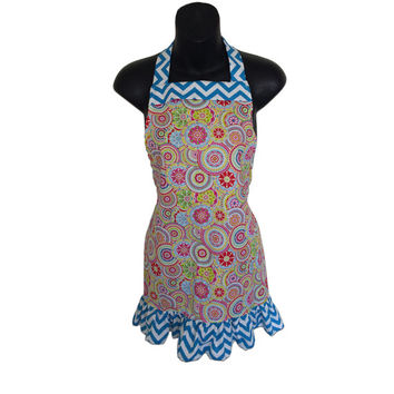 Colorful Kids Apron // Colorful Circles and Blue Chevron Ruffles and Trim // Size 4-6-8-Young Adult
