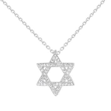 Rhodium Plated Jewish Star of David White Clear CZ Pendant Necklace for Women 19""
