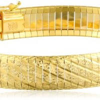 18kt Gold over Sterling Silver Diamond Cut Italian Textured Bracelet - Stylexotic