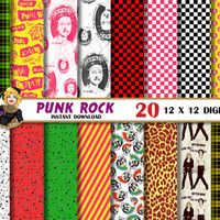 Punk Rock digital paper, tartan, plaid, checkered, safety pins, scull, rock, Sid and Nancy, yellow, Scrapbooking Paper, patterns,backgrounds