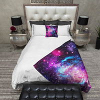 Pink Purple and Blue Galaxy Nebula Cosmos Minky Blanket & Pillow Set, Velvety Soft Throw Blanket.  3 Sizes to Choose from!!