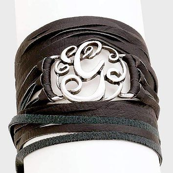 G Monogram Faux Leather Wrap Bracelet