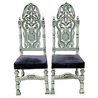 French Baroque-Style Chairs, Pair