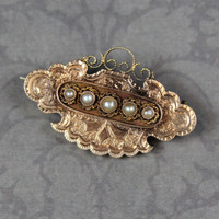 Antique Victorian Chased 14K Gold Pearl Brooch