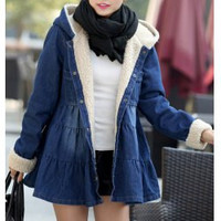 Sweet Long Sleeves Single Breasted Denim Hooded Coat For Women