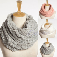 Nice Women Winter Warm Faux Fur Infinity Circle Cable Cowl Neck Long Scarf Shawl