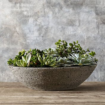 Oval Low Stone Planter