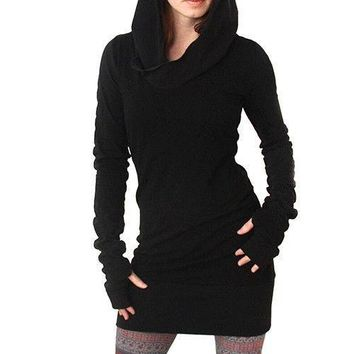 Women Fashion Hooded Hoody Sweatshirt Hoodie Pullover Tunic Jumper Dress Braw