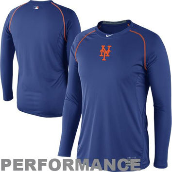 Nike New York Mets Pro Combat Core Raglan Long Sleeve Performance T-Shirt - Royal Blue