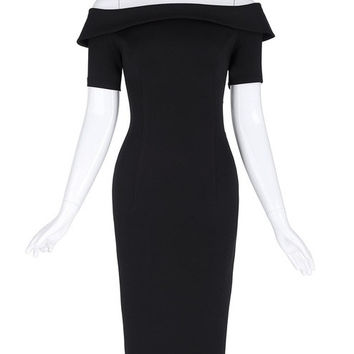 Belle Poque Women Business Work Retro Short Sleeve Off Shoulder Sexy Black Bodycon Dress 2017 Plus Size Vintage Pencil Dresses