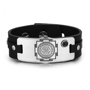 Sri Yantra Chakra Magical Energy Amulet Black Simulated Onyx Adjustable Leather Bracelet