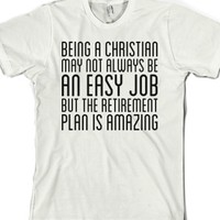 Christian Retirement Plan-Unisex White T-Shirt
