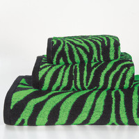 Lime Zebra 3-piece Cotton Towel Set | Overstock.com
