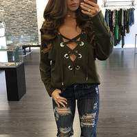 Fashion 2017 Long Sleeve Lace Up Women's T-shirt Casual V-Neck Wine Red Tee Shirt Female Kawaii Tops for Women Clothing 21253