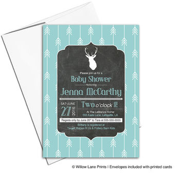 chalkboard deer baby shower invitation rustic | arrow baby shower invites neutral | printable or printed - WLP00734