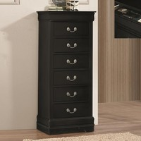 Sheba collection 6 drawer queen anne style black finish wood lingerie chest