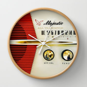 Classic Old Vintage Retro Majestic radio Decorative Circle Wall Clock Watch by Three Second