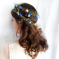 royal blue flower headpiece blue wedding hair by thehoneycomb