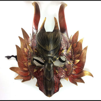 Red and Gold Feathered Dragon Mask, Handmade from Tooling Leather