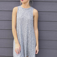 Quiet Seas Heather Gray Sleeveless Ribbed Sweater Swing Dress