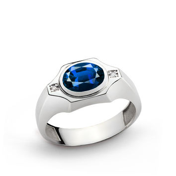 925 K Sterling Silver Men's Ring with 40 ct Sapphire and 0.02 ct Diamonds