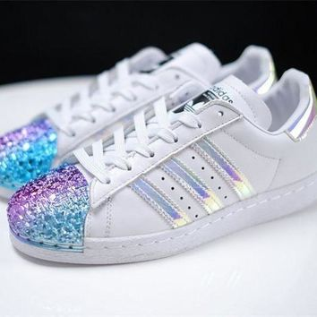 CREY9N adidas Originals White Superstar 80S Trainers With Colorful 3D Metal Toe Cap Sneakers