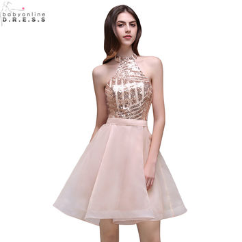 Robe de Cocktail Sexy Backless Halter Neck Short Cocktail Dresses 2017 Cheap Summer Prom Homecoming Dress Vestido de Festa Curto