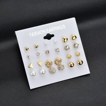 STYLEDOME 12 pair set Square Crystal Heart Stud Earrings 84a817f6a