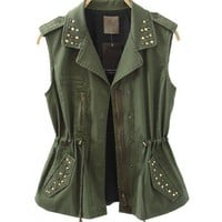 Military Green Studded Tank Coat with Drawstring Waist