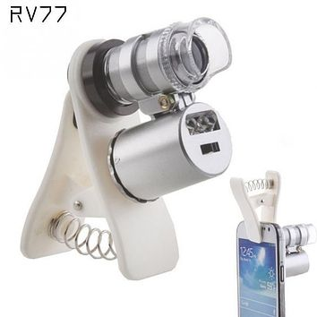 High Quality Universal Clip 60X Microscope Magnifying glass with LED/UV Lights for iPhone Sumgung Universal Smart Phones