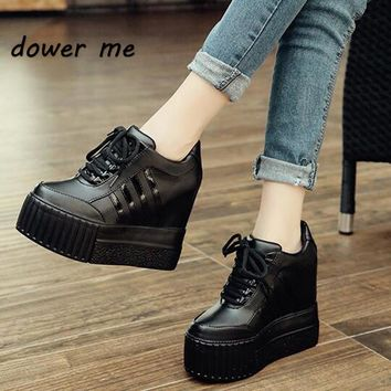 2017 New Fashion women spring autumn ankle boots Women hidden wedges boots Design  Round toe Lace-up western boots shoes woman