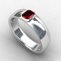 Ruby ring, wedding band, white gold, yellow gold, men's wedding band, ruby wedding ring, emerald cut, bezel, unique