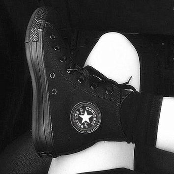 """""""Converse"""" Fashion Canvas Flats Sneakers Sport Shoes High tops Black"""