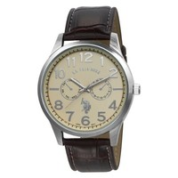 U.S. Polo Assn. Classic Men's USC50013 Chrono-Style Beige Dial Leather Strap Watch