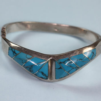 Turquoise Bracelet Mexican Sterling Hinged Bangle Vintage