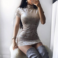 Srping WomanVelvet Dress Hot Style Women Sexy Casual  Irregular Tight Package Hip Velvet Dress Short Sleeve Solid Dress GV516