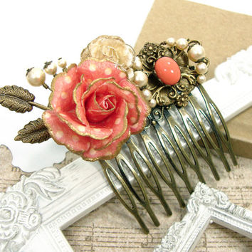 Vintage Style Floral Hair Comb - Swarovski Pearl Coral Flower Hair Comb - Antique Brass Flower Hair Accessories - Bronze Wedding Hair Comb