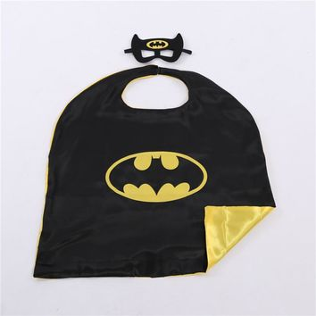 Superhero Capes and Masks Kids Batman Cosplay Costumes Satin Cape Great For Dress Up Party Birthday Gifts 70*70 cm size Capes
