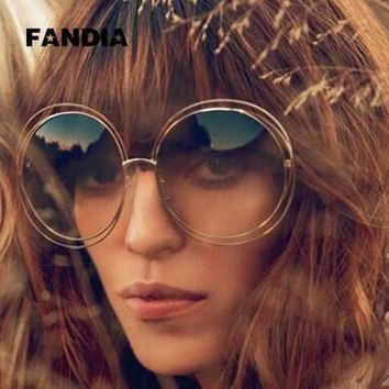 2017 NEW High quality Elegant Round Wire Frame Sunglasses Women mirror / gradient Glasses shades Oversized Eyeglasses ss076