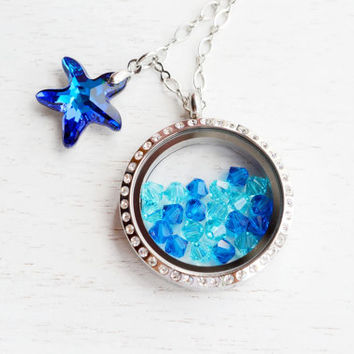 Living Locket Memory Glass Locket Jewelry,Stainless Steel Locket Pendant,Ocean Starfish Locket Necklace,Starfish Nautical Floating Locket