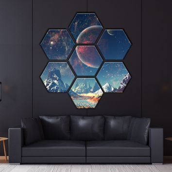Mountains and Space Hexagonal Canvas Set