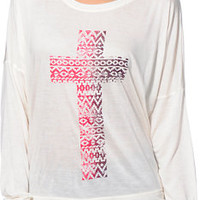Empyre Girls Kaden Cross Vanilla White Long Sleeve Dolman Top