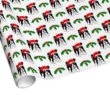 Cute Christmas Boston Terrier Puppy Dog Cartoon Gift Wrapping Paper