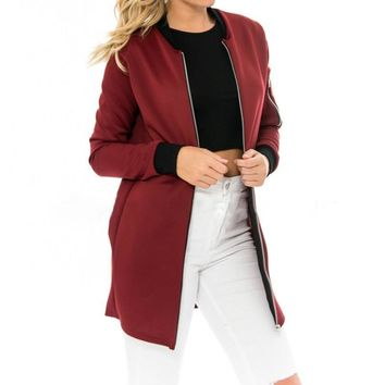 Trendy Autumn High Quality Fashion Ladies Long Jackets Stand Collar Solid Brief Cardigan Jackets Coat Women Thin Slim Outwear Jackets AT_94_13