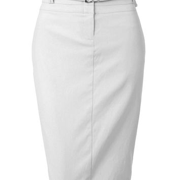 LE3NO Womens Plus Size Stretchy Knee Length Pencil Skirt with Faux Leather Belt (CLEARANCE)