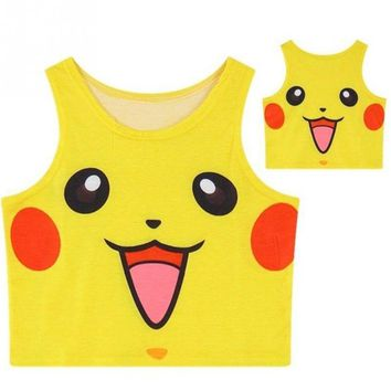 Pokemon Lovely Pikachu Vest Costume Cosplay Blouse Crop Top Tank Tee