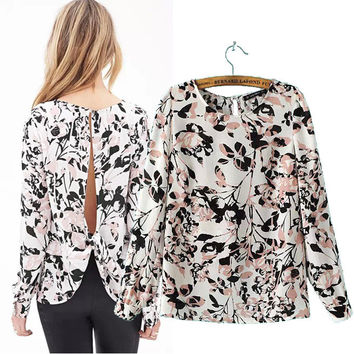 Stylish Round-neck Long Sleeve Leaf Print Backless Chiffon Pullover Tops Shirt [5013325956]