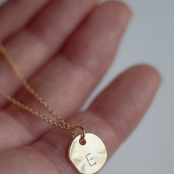 Gold round disc Initial Necklace, Bridesmaid jewelry, Personalized letter Necklace, Initial Pendant Necklace FREE SHIPPING